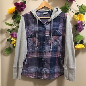 Columbia Plaid Shirt w/ Hoodie style sleeves/ Hood